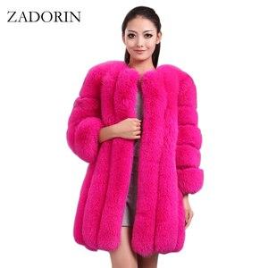 Image 1 - ZADORIN S 4XL חורף יוקרה פו שועל פרווה מעיל Slim ארוך ורוד אדום כחול פו פרווה מעיל נשים מזויף פרווה מעילים manteau fourrure