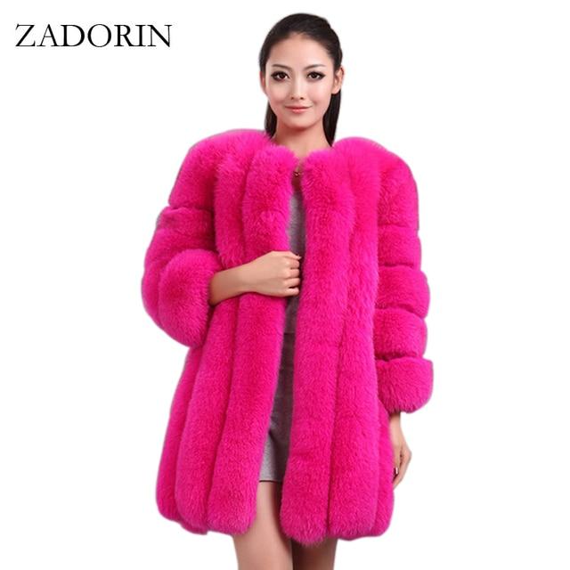 ZADORIN S 4XL Winter Luxury Faux Fox Fur Coat Slim Long Pink Red