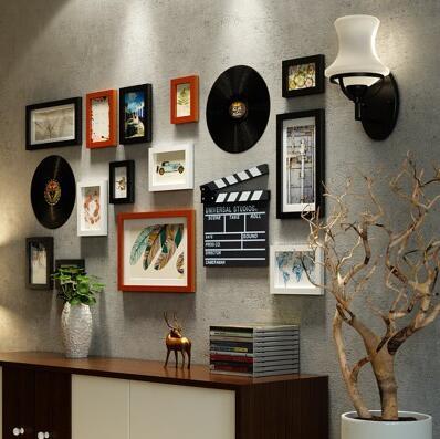 Da Parete europea Ornamenti Ciondolo soggiorno Attaccatura di Parete pittura creativa disco in vinile ornamenti di testa di cervo autoadesivi della parete in set - 4