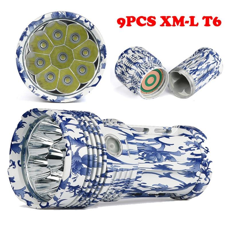 B2 25000LM 9 x Light XM-L T6 LED Hunting Flashlight 4 x 18650 Lamp Torch Camping & Hiking Super bright Wholesales&Retails