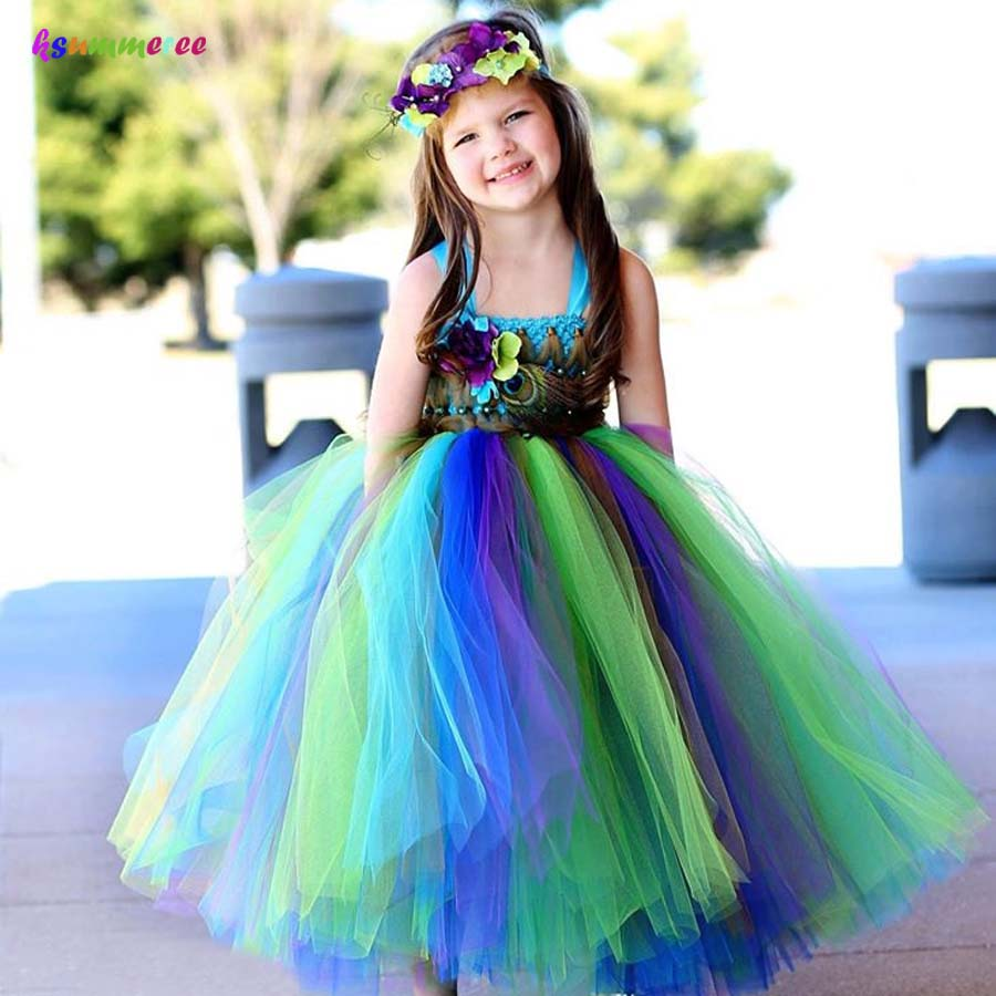 Peacock Tutu Dress for Girls Kids Birthday Party Wedding Costume Children  Pageant Ball Gown Flower Dresses ... fbe1e225d7f9