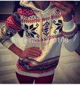 2015 новая мода женщин Зима Теплая Симпатичные толстовка рождество knited толстовка Топы 8-16