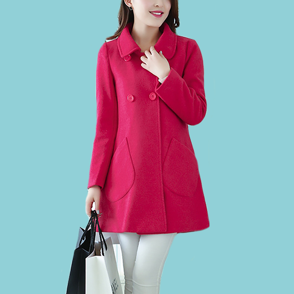 Fashion Women Turn down Collar Double breasted Coats woollen cloth coat and long sections woolen coat