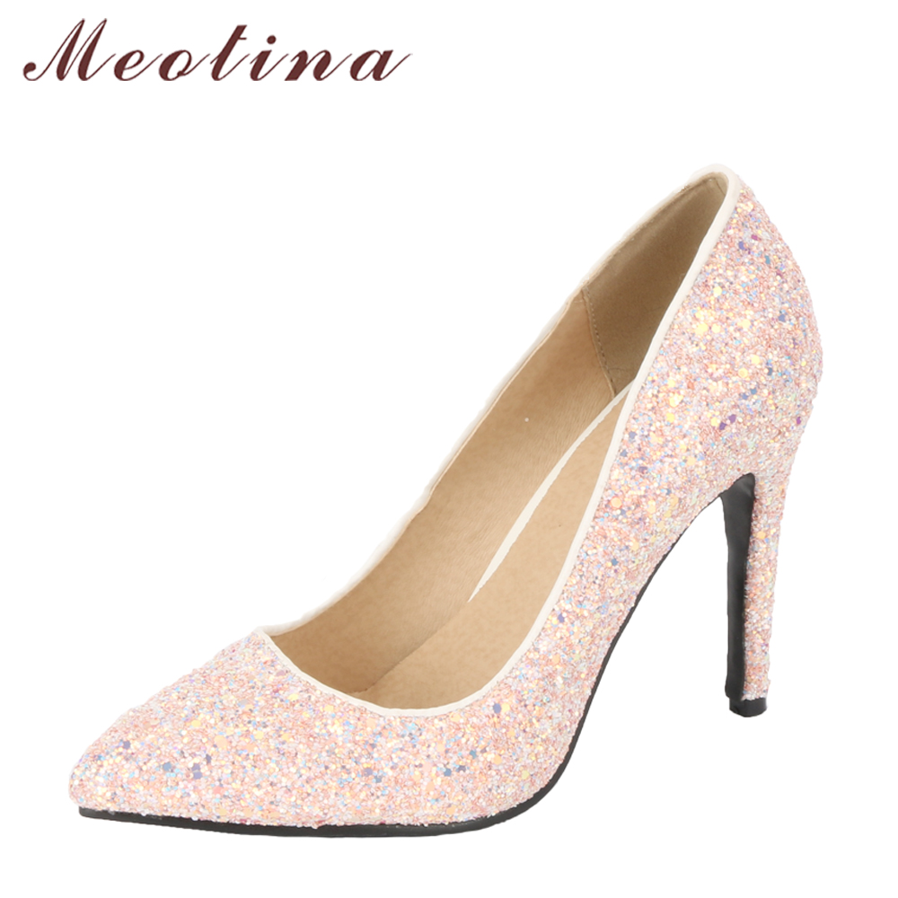 Meotina Women Pumps High Heels Bridal Wedding Shoes Bling White Pointed Toe Thin Heel Party Shoes Pink Glitter Fashion Shoes New sequined high heel stilettos wedding bridal pumps shoes womens pointed toe 12cm high heel slip on sequins wedding shoes pumps
