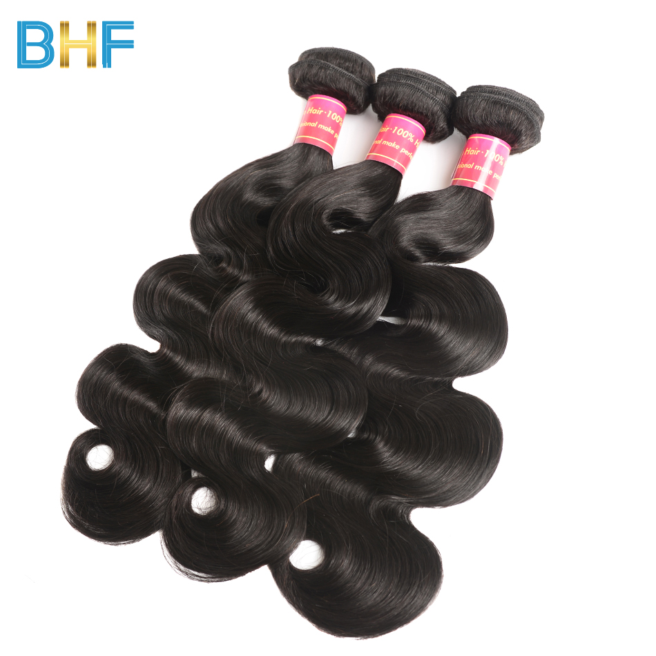BHF 3 Bundles Indian Body Wave Hair Bundles Natural Color Virgin Human Hair Weave Weft 8-30 Inch One Donor One Bundle Collect