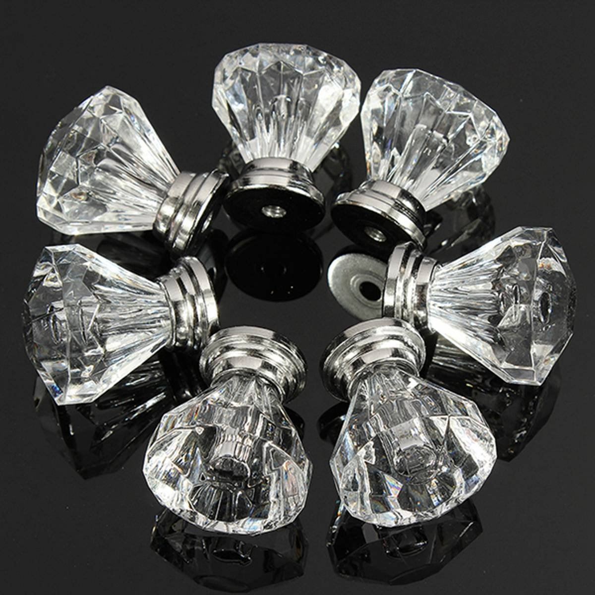 High Quality 12pcs Acrylic Crystal Door Drawer Knob Pull Handle Cabinet Cupboard Clear new original ifs204 door proximity switch high quality