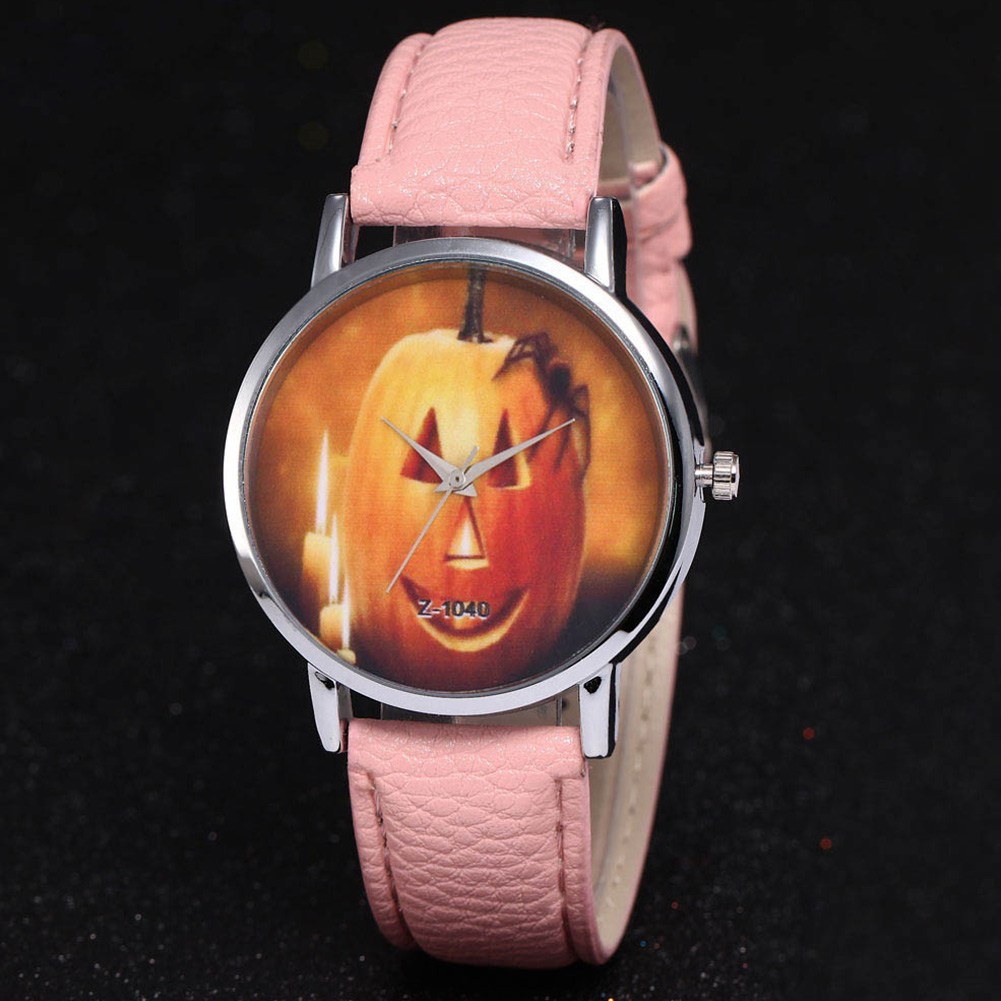 Smiley Spider Leather Men Quartz Halloween Pumpkin Pattern Watch