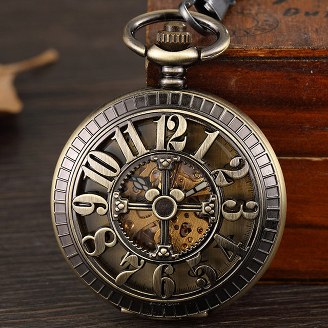 Vintage Bronze Arabic Numerals Case Skeleton Mechanical Pocket Watch Necklace Re