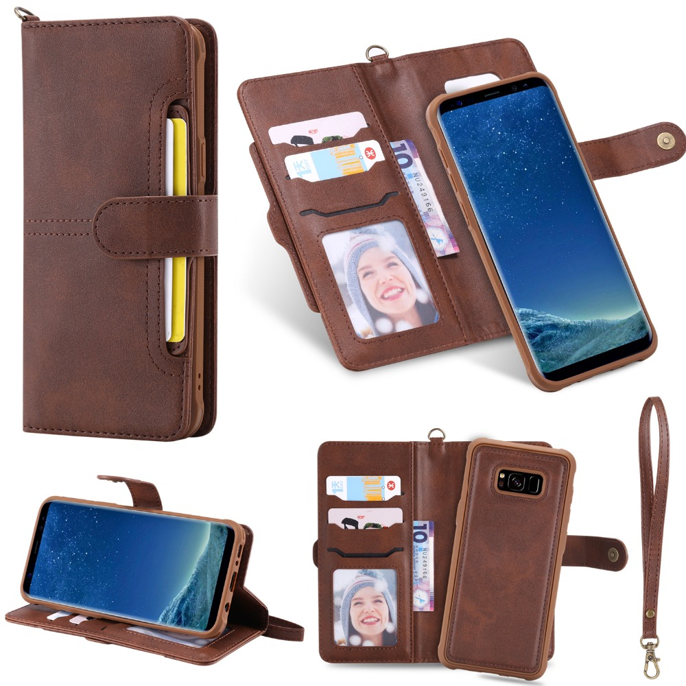 free shipping 9ec76 234dc US $7.79 35% OFF|Flip Case for Samsung Galaxy S8 Luxury Detachable Leather  Wallet Phone Cases Magnet Closure Cover for Samsung S8 Plus S9 Note 9-in ...