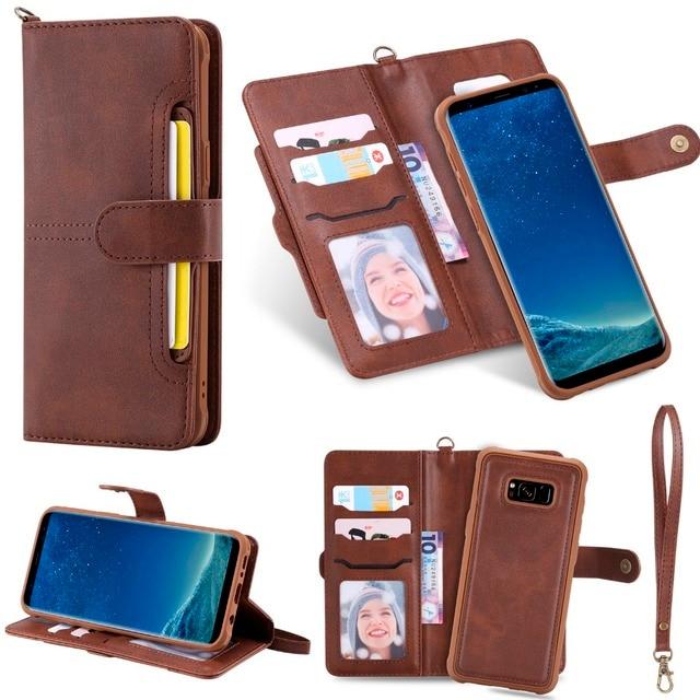 Caso da aleta para samsung galaxy s8 luxo destacável couro carteira casos de telefone capa magnética para samsung s20 plus note20 ultra s9