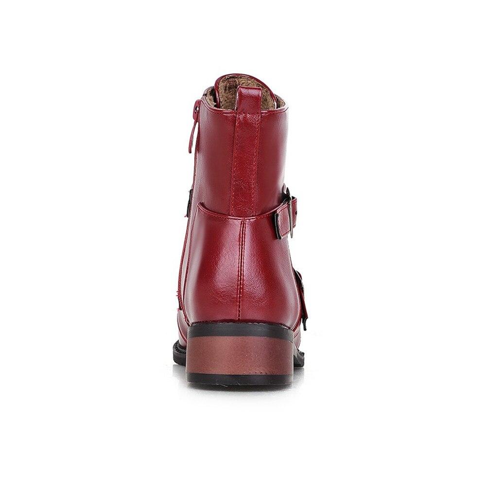 Plus 43 Pointu Bout Femmes Carrés automne red Bottes Cheville Moto Black Main Taille Printemps Talons Solide 34 La Étanche Orshirly purple 7q4gzaz