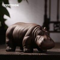 Autêntico yixing roxo argila hipopótamo chá pet boutique chinês kung fu jogo de chá ornamento artesanato cerâmica sorte fengshui decoração da sua casa
