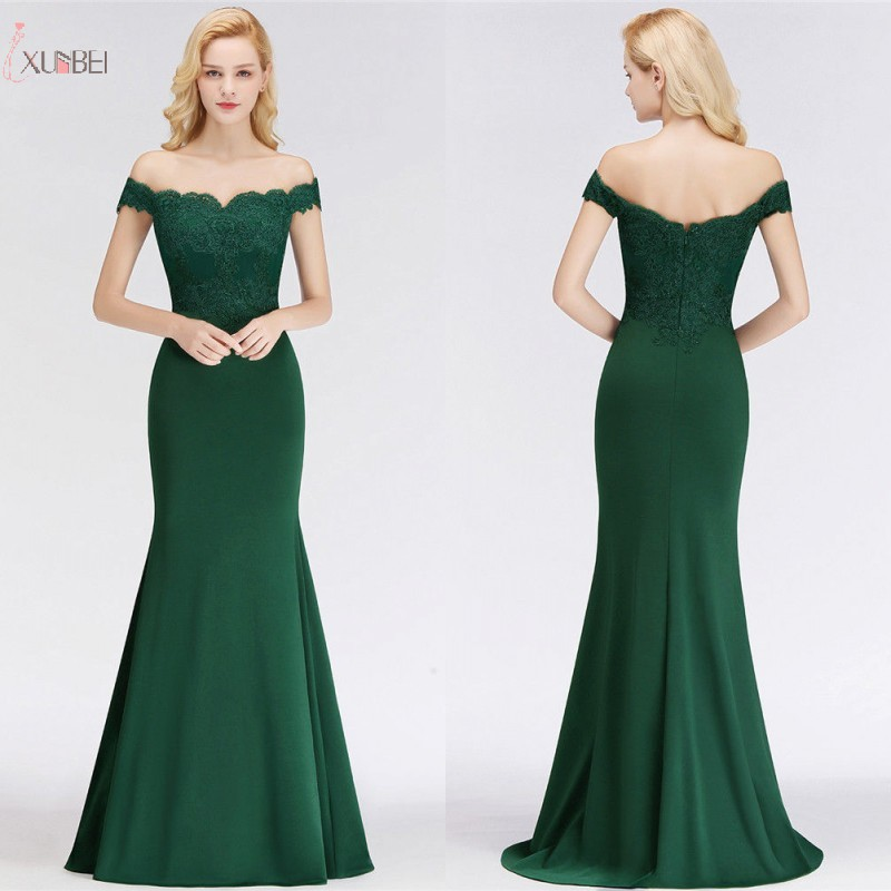 Mermaid Elegant Long Prom Dresses 2019 Applique Off Shoulder Prom Gown Gala vestidos de festa Longo New