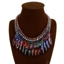 Fashion Women Necklace Choker Collar Crystal Tassel Statement Necklace Jewelry Maxi Necklaces & Pendants Colored Chokers недорого