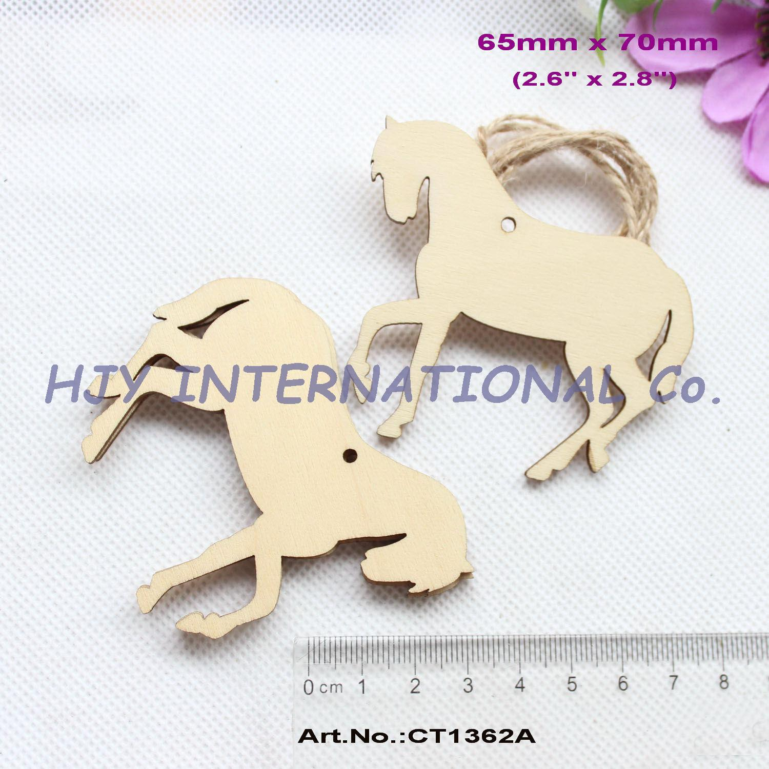 (14pcs/lot) 70mm Blank Wooden Horse Oraments Rustic Natural Wood Tags Craft In Bulk 2.8