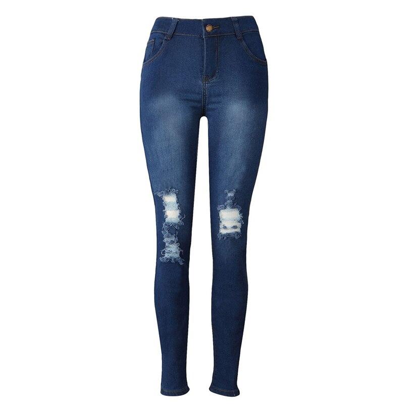 Denim Ripped Pants 2017 Womens Denim Skinny Jeans Stretch Pencil Trousers Slim Long Pants koren style   XXXL  MAR27  jeans womens 2017 spring korean fashion vintage badge ripped blue denim pants trousers long pencil pants jeans femme b67