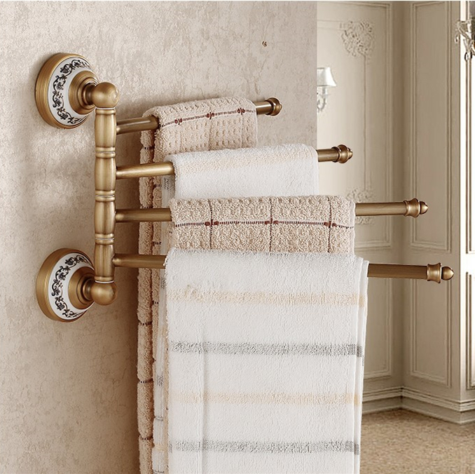 Free Shipping Vintage Design Rotation Towel Rack 4 Layer Activities Towel Bar&Towel Rack /Bathroom Accessories Folding towel bar масло 4 х тактное champion 4л sae 30 минеральное 952821