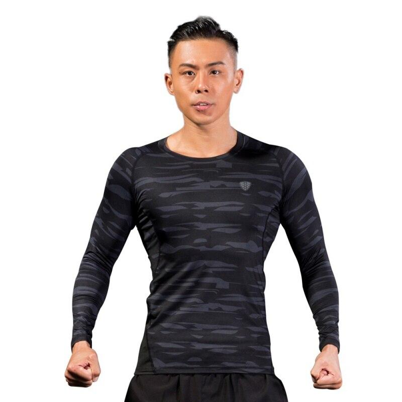 Камуфляж длинный фитнес полиэстер зеленый серый быстросохнущая одежда приталенное с длинными рукавами футболка