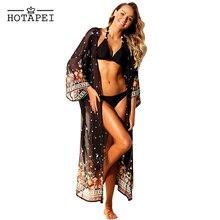 Hotapei Chiffon Beach Cover Up summer Vibe Black Floral Swimwear women 2019 Beachwear Bikinis Wear Cover Ups hot sale LC42265