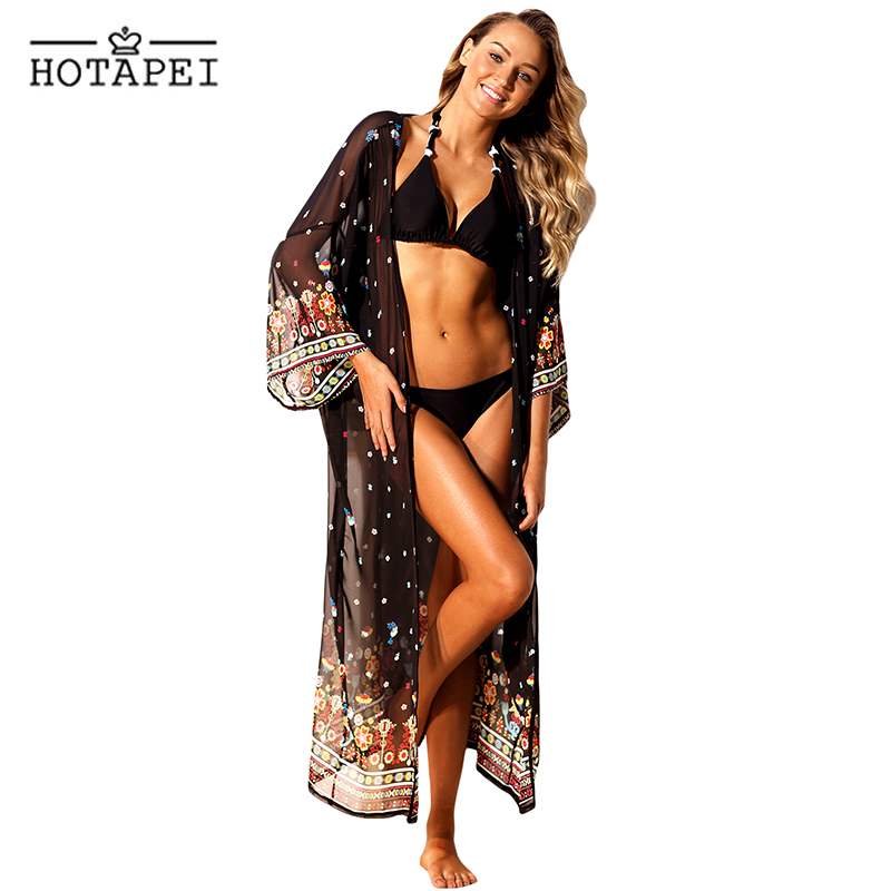 Hotapei Chiffon Beach Cover Up summer Vibe Purplish Floral Swimwear LC42265 women 2018 Beachwear Bikinis Wear Cover Ups hot sale цена 2017