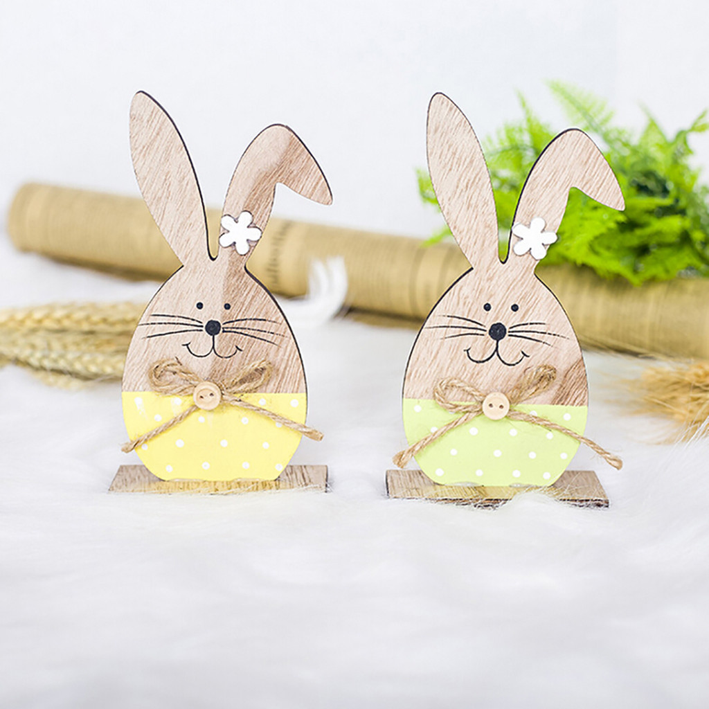 Wholesale Easter Decorations Wooden Rabbit Shapes