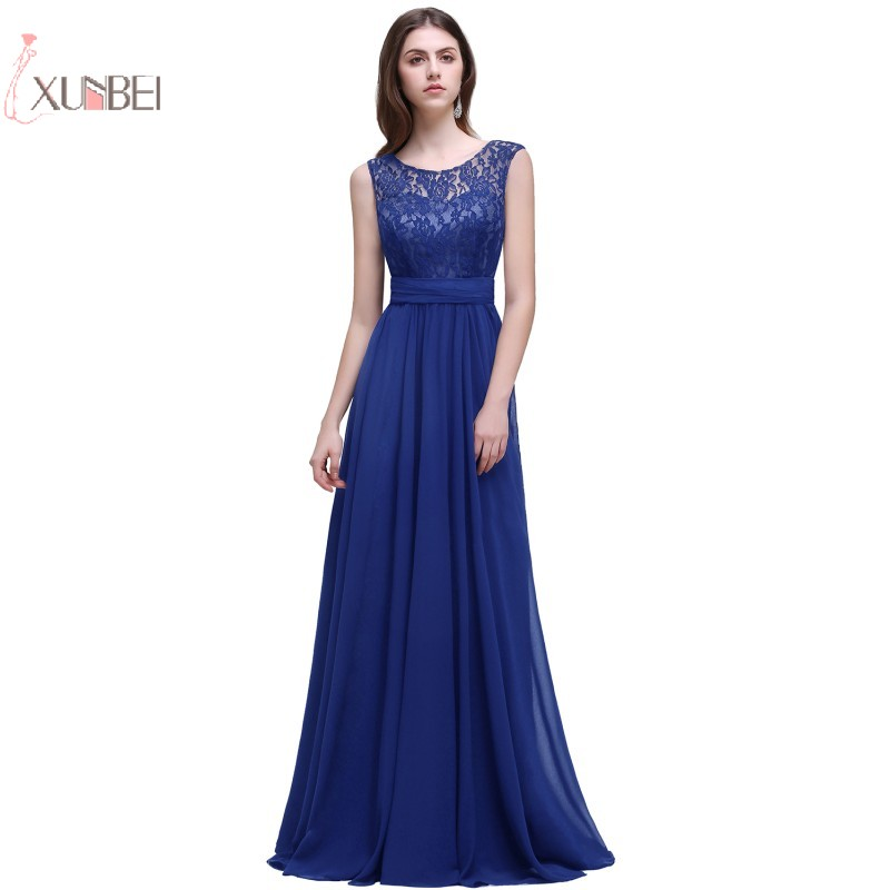 Plus Size Chiffon Elegant 2019 Long Prom Dresses Sleeveless Royal Blue Prom Gown Gala vestidos de festa Longo