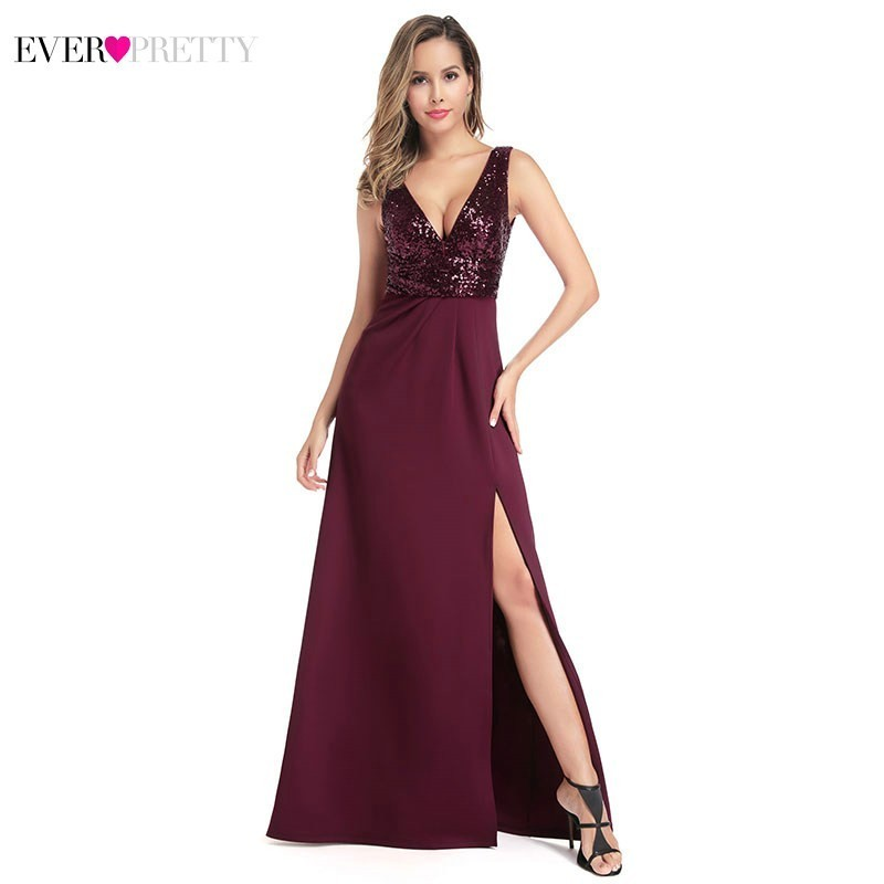 Burgundy Evening Dresses Ever Pretty EP00918BD V-Neck Sleeveless Sequined Sexy Little Mermaid Long Dresses Robe De Soiree 2020