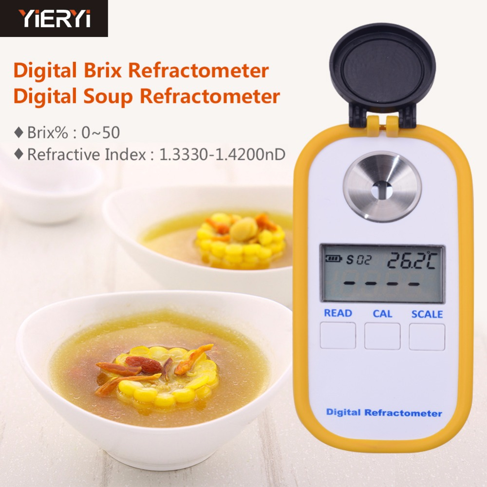 2017 hot 100% Digital Brix Refractive Index Refractometer 0-50% Brix For Sugar In Wine Concentration Of La Noodle рефрактометр grand index 1 000 1 120 0 32% brix rsg 100atc brix rsg 100atc