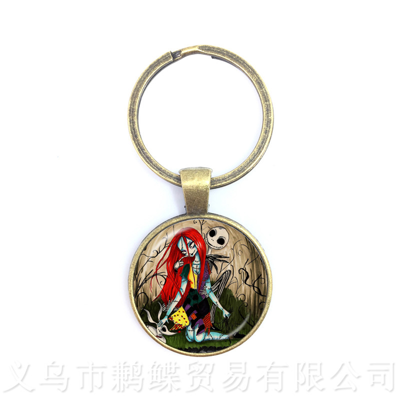 A Pair Jack Skellington And Sally Cabochon Trendy Keychains Charms Halloween Party Jewelry Gift For Friends Keyring