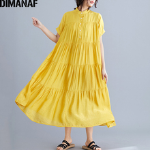 DIMANAF Plus Size Women Dress Big Loose Female Vestidos Lady Elegant Long Pleated Spliced Summer Sundress 5XL 6XL New