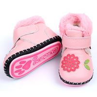 Baby Boots For Girl Winter Baby Shoes Soft Leather Rabbit Fur Warm Pink Flower Newborn Baby Girls Boys First Walkers Soft Sole