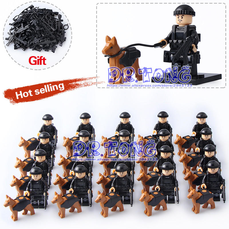 DR TONG 20pcs/lot Super Heroes Ploiceman with Weapon Dog Building Bricks Blocks Toys Children Gifts dr tong 20pcs lot pg1049 super hero