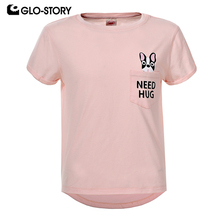 GLO-STORY Teenages Kids Girls Clothes Girl 2018 New Cute Dog Print Short Sleeve Summer T-shirt MeninaTops GPO-5796