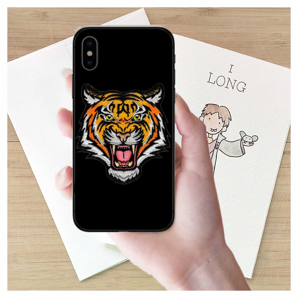 Fashion luxury Tiger Snake Soft silicon cover case for iphone 5s se 6 6S 7 8 Plus X 10 Black Animal Cat phone cases Fundas capa