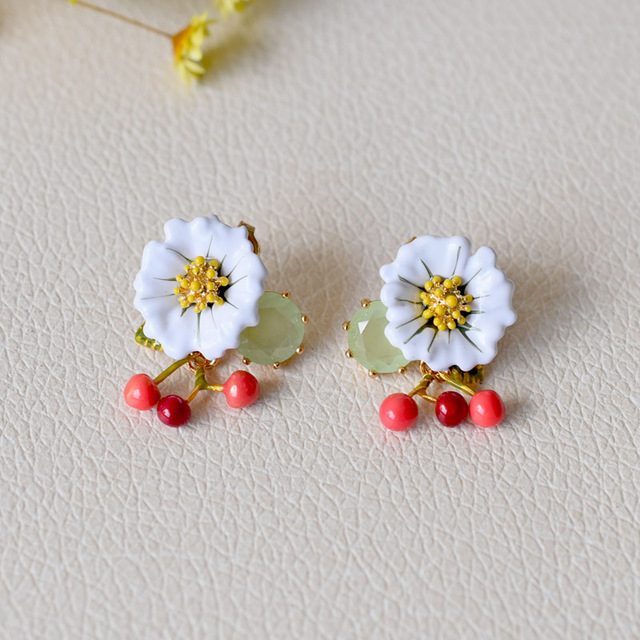 France Les Nereides Trendy Enamel Stud Earrings For Women Cherry Blossoms Gem Jewelries New Luxurious Party Accessories