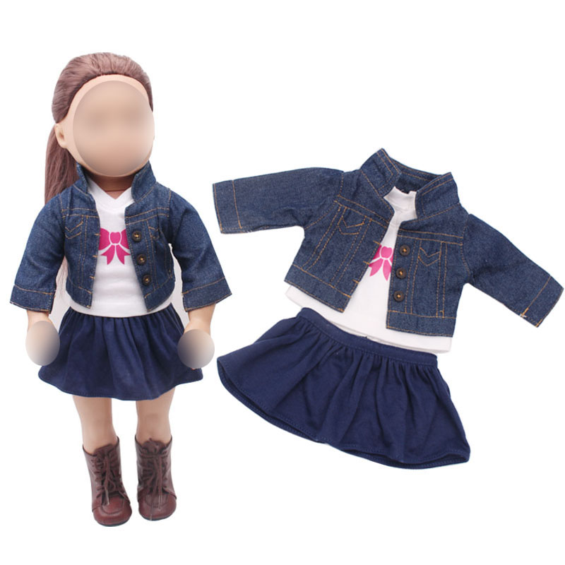 18 inch Girls doll dress Fashion denim suit jacket + T-shirt + American new born clothes Baby toys fit 43 cm baby c317