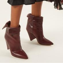 704fc78df Clássico Da Moda Vinho Vermelho Preto Ankle Boots de Couro Do Dedo Do Pé  Apontado Botas