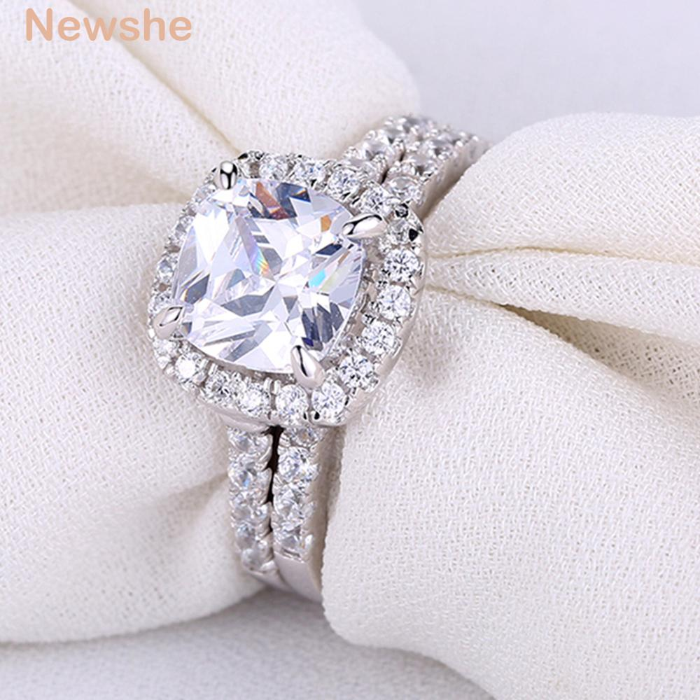 Newshe Solid 925 Sterling Silver Wedding Ring Set Engagement Ring For Women 2.2 Ct Square Cushion Cut AAA CZ Fashionable Jewelry newshe pear shape blue side stones aaa cz solid 925 sterling silver wedding ring set engagement band fashion jewelry for women