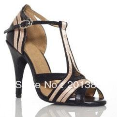 2013 Discount Black Leather Dance Shoes Latin Ballroom Shoes Salsa Dance Shoes Tango Shoes