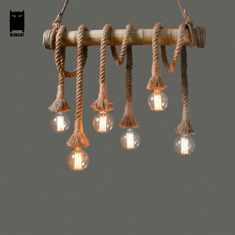 Bamboo Hemp Rope Bulb Pendant Light Fixture Retro Rustic Loft Vintage Country Re Avize Luminaria Dining Room In Lights From