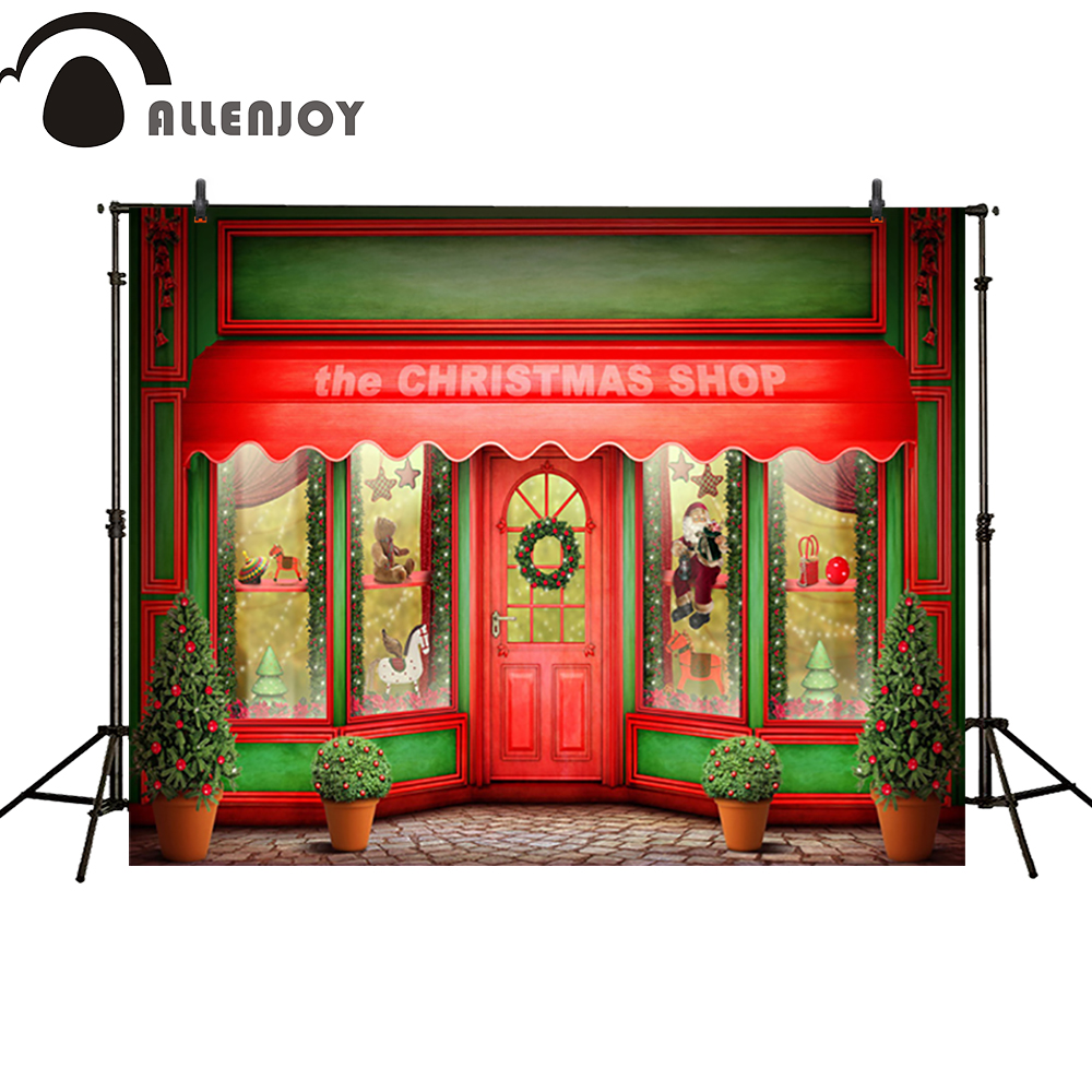 Allenjoy photo backdrops Christmas shop door celebrate window newborn photo studio photocall background original custom allenjoy photographic background rainbow sun lawn cloud newborn lovely princess photocall custom camera fotografica