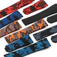 Camouflage cinturino in gomma vigilanza degli uomini accessori per Rolex acqua fantasma Di Tong Fantasma Re GMT cinturino in silicone impermeabile 20mm