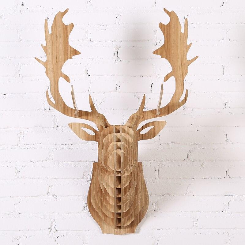 2016 NEW Fallow Reindeer Head DIY Wooden Wall Home Decor