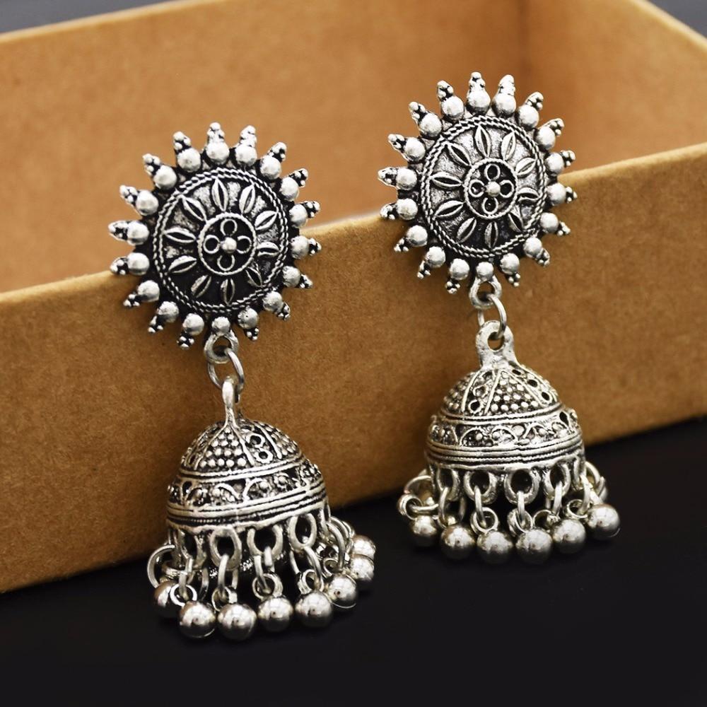 Gypsy Afghan Jewelry Retro Ethnic Silver Indian Jhumka Small Bells Beads Drop Tassel Earrings for Women Bohemian Pendiente Gift 1