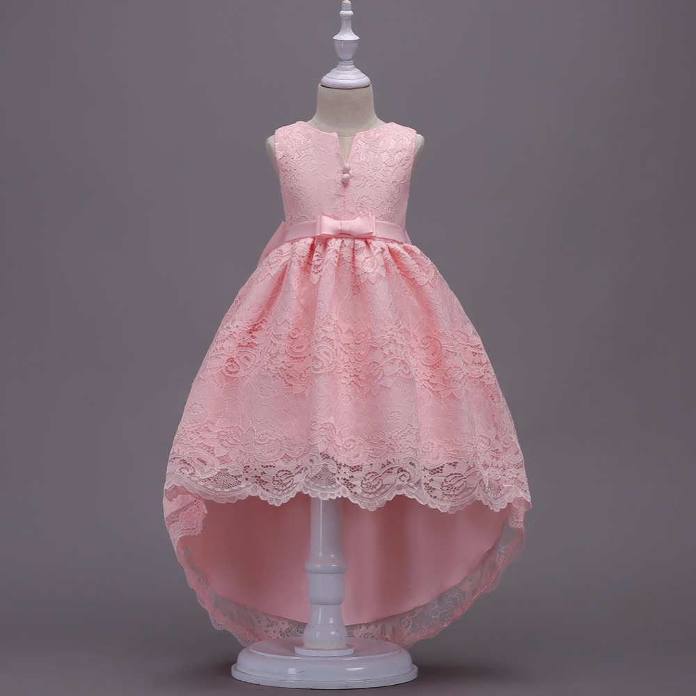 Kids Baby Clothes Fancy Dovetail Flower Girls Lace Pink High Low Bowknot Dress Teenagers V-neck Princess Party Pageant Dress Kids Baby Clothes Fancy Dovetail Flower Girls Lace Pink High Low Bowknot Dress Teenagers V-neck Princess Party Pageant Dress