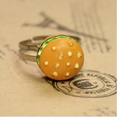 24pcs/lot kawaii Resin hamburger charm Flatback Cabochons Ring Cute Retro Sweet childrens Gift