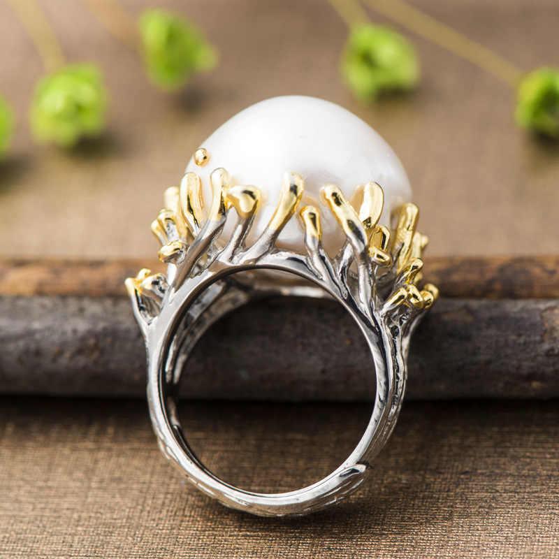 V. يا قابل للتعديل الباروك اللؤلؤ 925 الفضة خاتم الرجعية غلو التباين على شكل خاتم اللؤلؤ النساء خمر مجوهرات