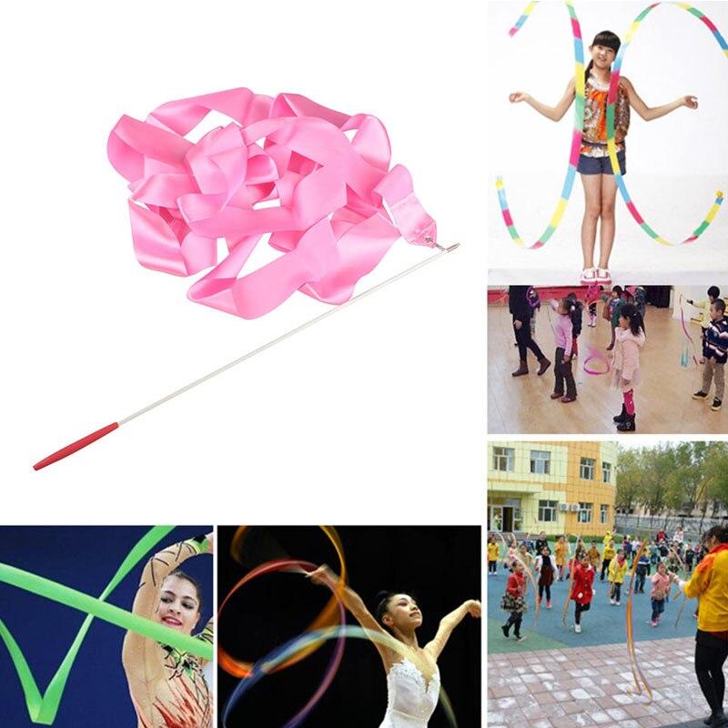 4 м разноцветные гимнастические ленты танцевальная лента ритмической художественная гимнастика лента для художественной гимнастики вертя...