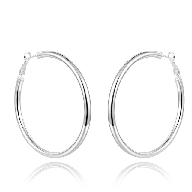 925 Sterling Silver Large Size Hoop Earrings Hollow Polished Clip On For Women