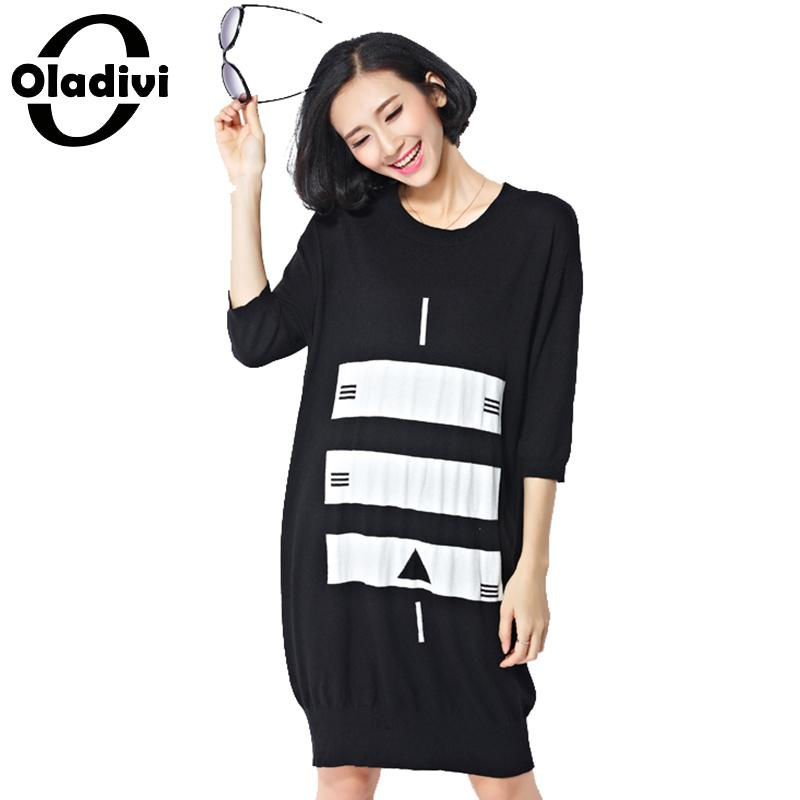 Oladivi 2018 Autumn Winter Dress Women New O Neck Sweater Dress Medium Long Knitted Dresses Casual Ladies Plus Size Clothing 5XL girl sweater dress superfine wool knitted dress 2015 o neck pocket long sweater tassels christmas children clothing kids dresses